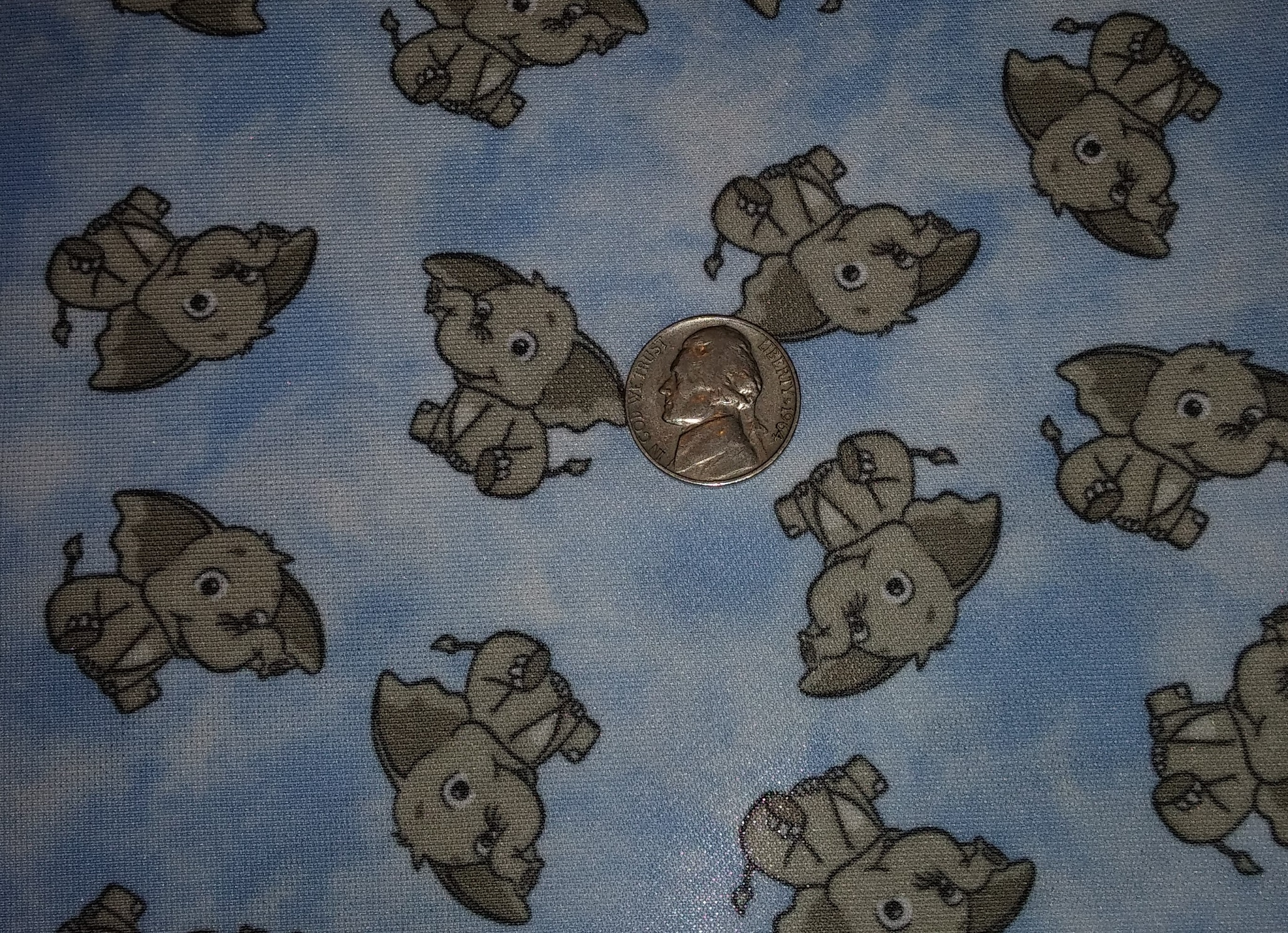 Baby Elephants on Blue -by the inch