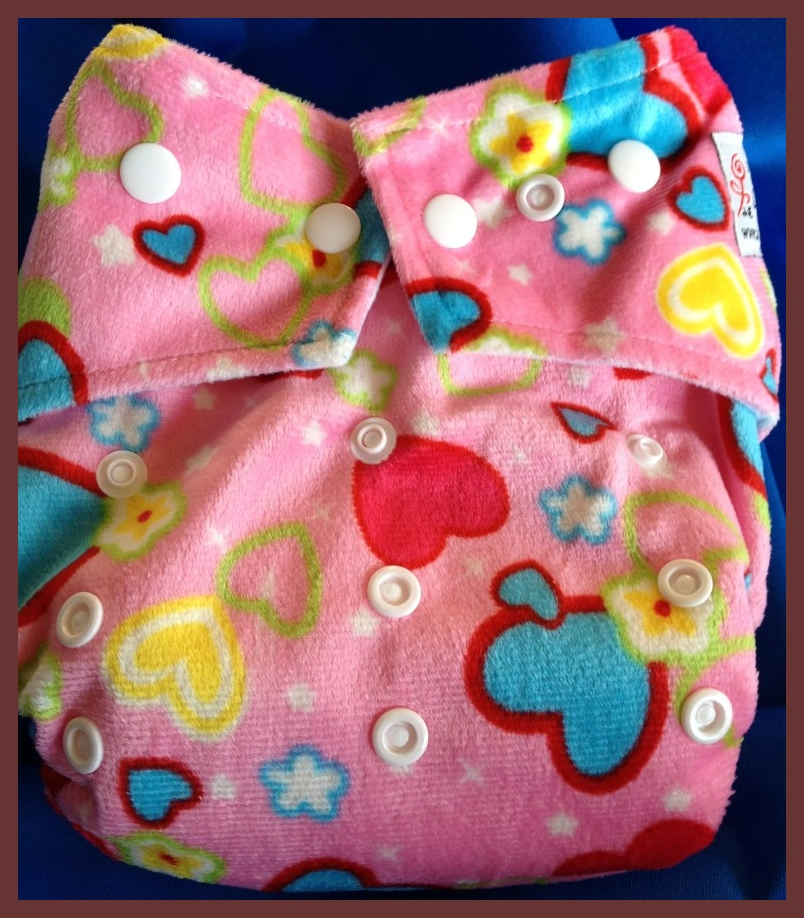 Hearts on Pink Minky Pocket One Size Diaper