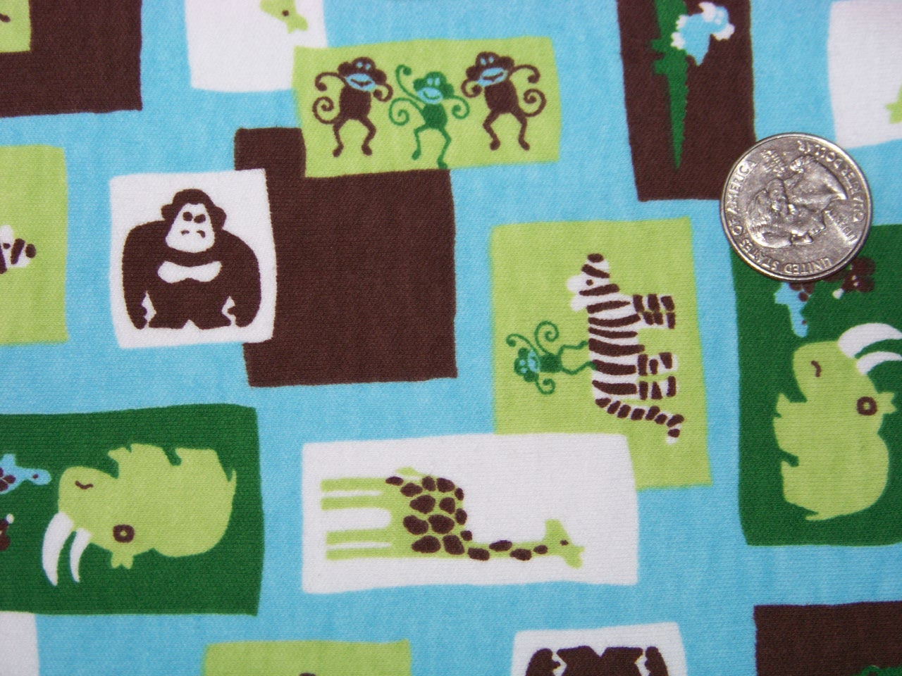 "Mint Chocolate Zoo  (52"" wide) by the yard"