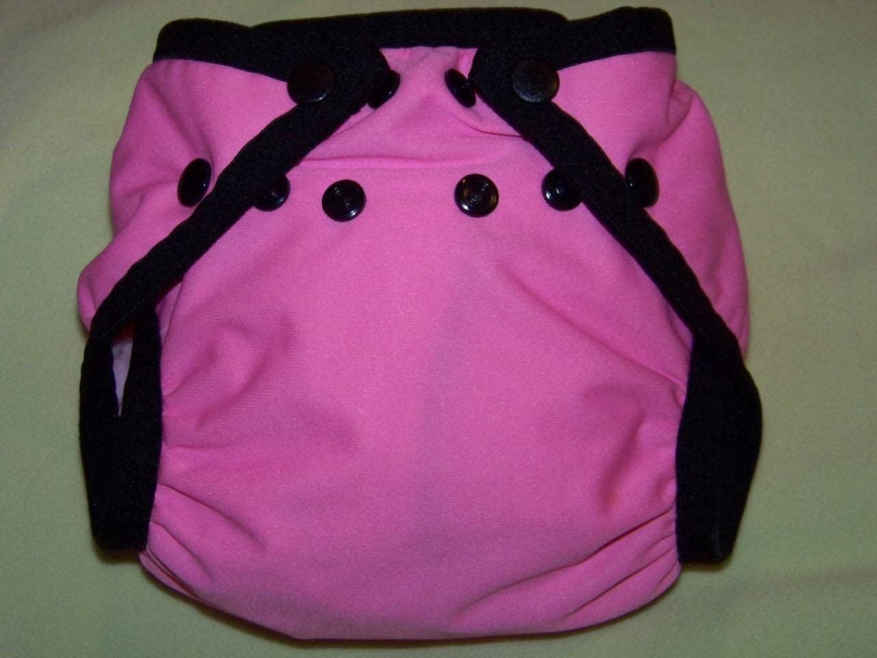 Raspberry & Black Pocket Diaper - Small