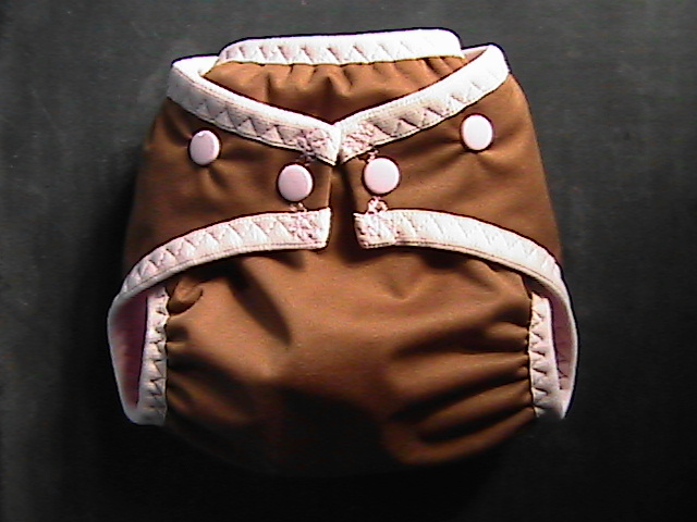 Brown & Pink Pocket Diaper - Small