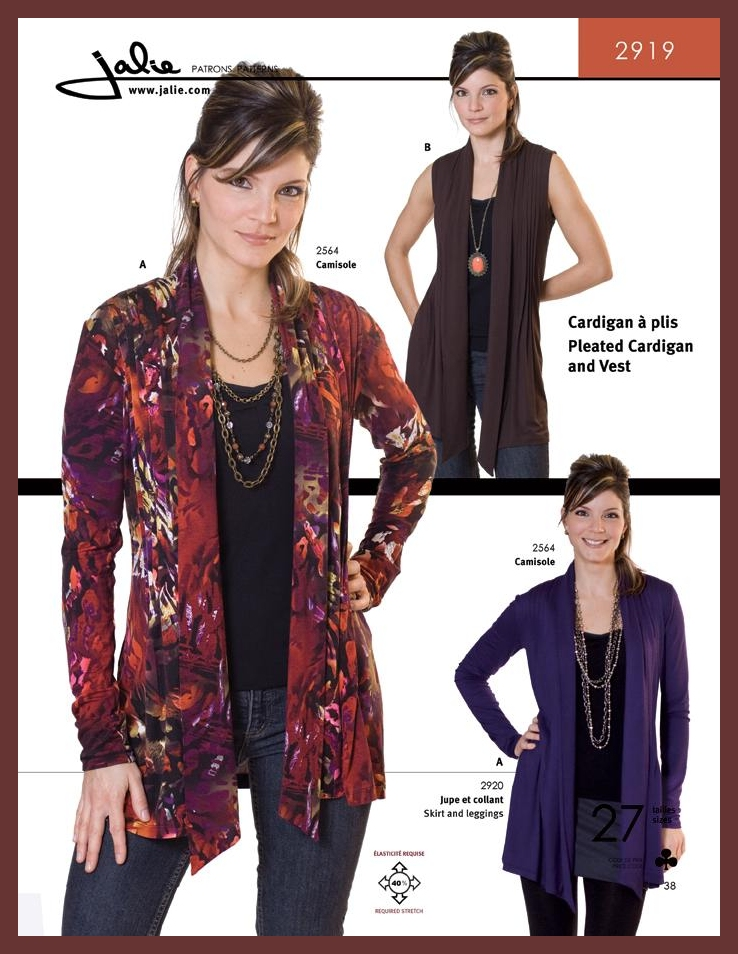 Pleated Cardigan & Vest Jalie #2919